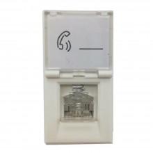 Modulo connettore telefonico RJ11 compatibile BTicino cat 3 C2212 16 Mb/s bianco