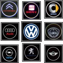 Coppia di proiettori a LED logo auto marca portiera luce kit tuning sportello