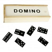 Gioco da tavolo DOMINO strategia scatola 28 pedine tessere nere puntini bianchi