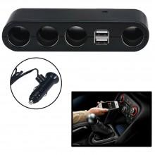 Caricatore adattatore auto sdoppia 4 prese accendisigari 2 porte USB 60W LD-9117