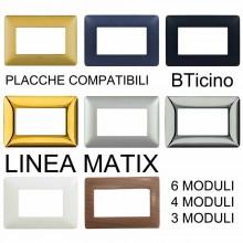 Placca mostrina compatibile BTicino Matix colori 6 4 3 moduli prese interruttori
