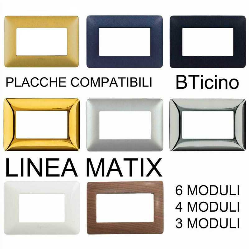 Supporto e Placca Bianca 4 Posti Bticino Matix Compatibile
