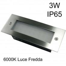 Faretto calpestabile uso esterno interno 3W luce fredda 6000K LED IP65 incasso