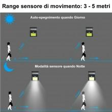 Faretto esterno 48 LED sensore movimento COB crepuscolare IP65 casa TE-B0133