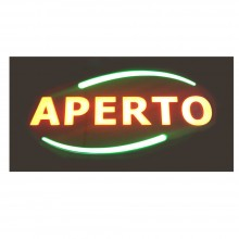 NEW Insegna luminosa pubblicitaria a LED logo APERTO barre verdi lampeggianti