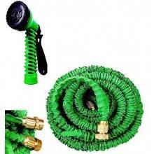 Tubo irrigazione estensibile da giardino elasticizzato dotato di raccordi in acciaio e pistola multi getto