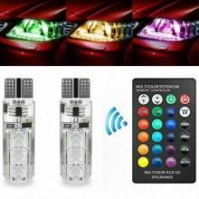 2x 6 Led RGB T10 telecomando luce multicolore fari posizione tuning auto moto