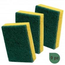 Spugna cucina gialla parte abrasiva 9PZ pulizia sapone stoviglie incrostazioni