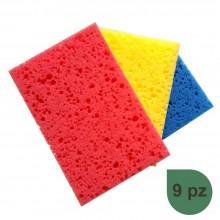 Spugna cucina blu rossa gialla 9PZ pulizia sapone stoviglie incrostazioni piatti
