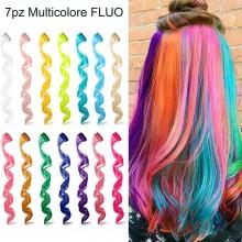 Extension sintetiche per capelli Clip colori FLUO vari 7 pezzi multicolore party