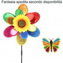 2x Girandola a vento mulino forma FIORE multicolore farfalla girasole bambini