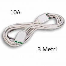 Prolunga elettrica lineare cavo 3 metri spina presa 10A 2P+T bipasso