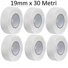 6 Rotoli Nastro carta mascheratura BIANCO carrozziere adesivo mm 19 x 30 Mt