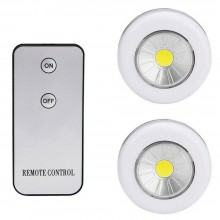2 Faretti COB Luce notturna lampadina controllo remoto con Telecomando armadio