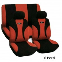 Coprisedile auto universale 6 pz colori Rosso e nero set completo fodere sedili