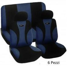 Coprisedile auto universale 6 pezzi colori Blu scuro e nero set completo fodere