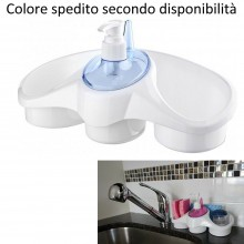 Dispenser da bagno cucina organizer erogatore sapone porta spugna panni