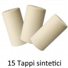15x Tappi sintetici silicone vino tappo bottiglia salva freschezza vetro 22x42mm