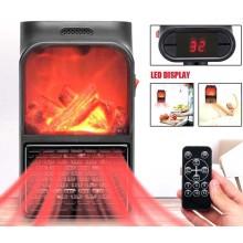 Mini stufa camino fuoco acceso fame heater 1000W stufetta caldobagno telecomando