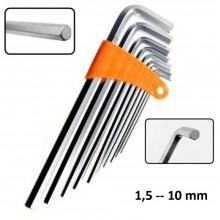 Chiavi esagonali set 9 pezzi brugola lunghe estremita piatta da 1,5 a 10 mm