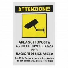 12x Cartello AREA SOTTOPOSTA A VIDEOSORVEGLIANZA PVC 20x30 cm segnaletica