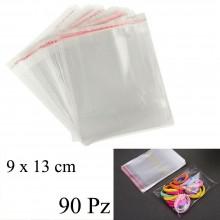 90pz Buste sacchetti Cellophane alimenti oggetti con chiusura 9x13 cm OPP