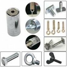 Chiave combinata fissa e cricchetto con bussola presa universale 8 - 19 mm