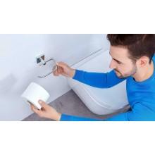 Porta rotolo carta igienica bagno fissaggio a vite Acciaio lucido 13x6,5 cm
