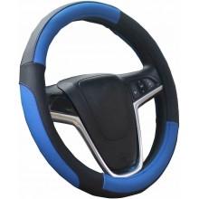 Coprivolante auto universale simil pelle fodera volante Blu MAX 38 cm tuning