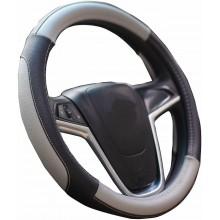 Coprivolante auto universale simil pelle fodera volante Grigio MAX 38 cm tuning