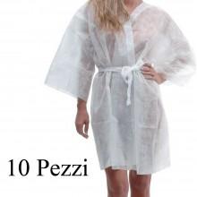 10 Pezzi Kimono monouso in TNT Bianco camice estetica tasta cinta usa e getta