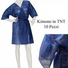 10 Pezzi Kimono monouso BLU in TNT Bianco estetica tasta cinta usa e getta