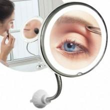 Specchio braccio Flessibile makeup luce led zoom lente 10x con ventosa bagno