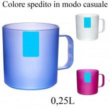 2 Bicchieri in plastica rigida 0,25L resistente bicchiere tazza manico color