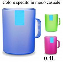 2 Bicchieri in plastica rigida 0,4L resistente bicchiere tazza manico color