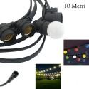 Catena Luci 10M 20 portalampadine lampade E27 Nera IP65 arredo interno esterno