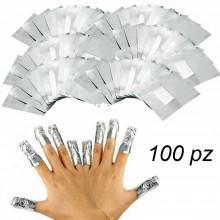 100 Fogli alluminio spugna rimozione smalto GEL semipermanente unghie nail art