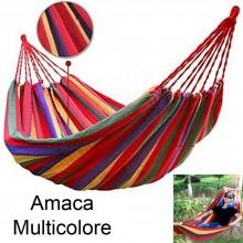 Amaca da giardino colorata muticolore cotone campeggio casa con sacca trasporto