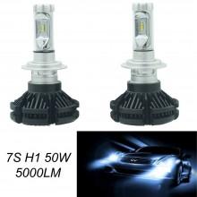 Coppia lampade ricambio auto LED 7S H1 bianco freddo 6000K fari 50W lampadine