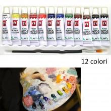 Tempere acriliche 12 tubetti 6ml colori pennello dipingere principianti studenti