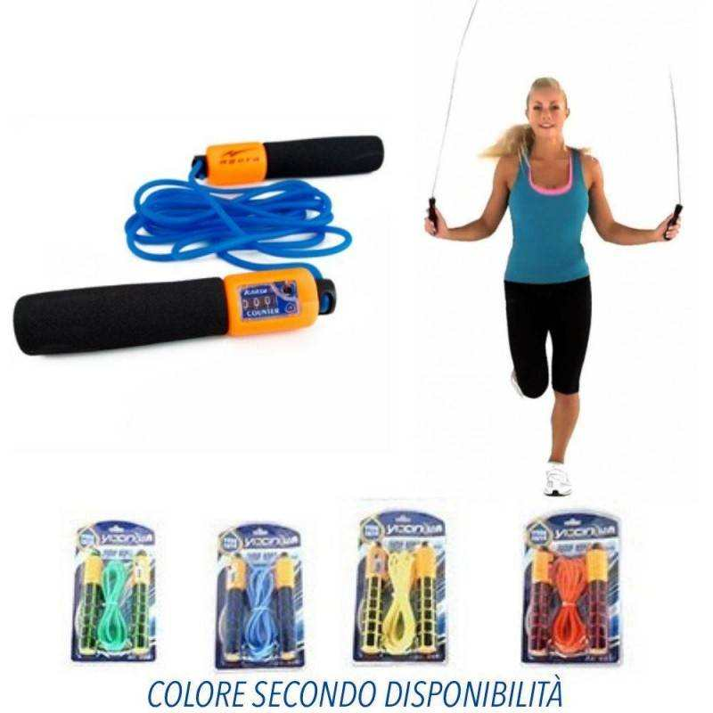 Corda per salto con la corda regolabile in lunghezza con contatore di salti e maniglie morbide