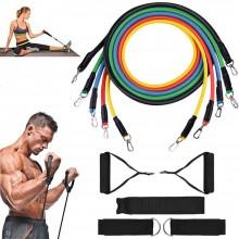 Set bande di resistenza elastiche 5 fasce maniglie fitness palestra yoga casa