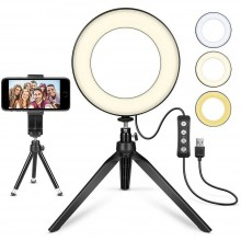 Lampada ad anello 15 cm luce LED treppiedi selfie streaming video illuminazione