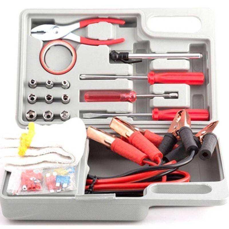 Kit di emergenza auto e moto in valigetta 30 accessori per ripristino e avviamento - cavi fusibili pinze nastro guanti bussole