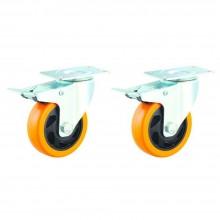 "2x Rotelle porta mobili poliuretano freno ultrascorrevoli bricolage brico mobili 3"""