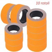 10x Rotoli etichette arancioni 21x12 cm prezzi 400 etichette adesivi prezzatrice