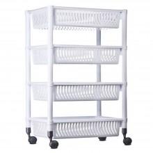 Cesto salva spazio bianco grigio contenitore ruote 4 piani plastica cesta casa