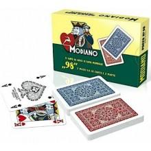 Carte da gioco ramino MODIANO 98 plastificate rosso blu poker bridge 2 mazzi