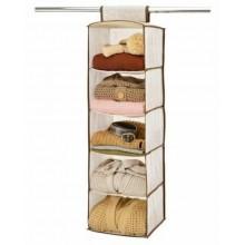Organizer per armadio 5 ripiani cassetti scaffali pieghevole appendibile fascia