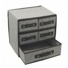 Set 5 cassetti pieghevole cassetto grigio 30x30x23 cm plastico organizer camera